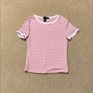 Pink and white striped tee